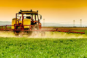 tractor sprays field of crops with pesticide
